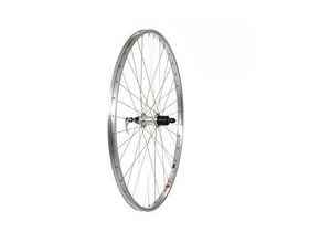 Tru-Build 26 X 1.75 Rear Wheel, Alloy Hub, Silver 7 Speed Cassette Fitment